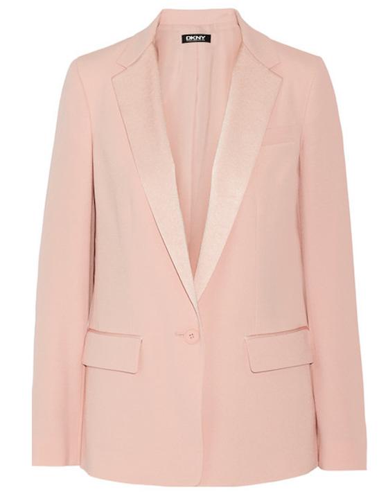 Satin-trimmed crepe blazer, DKNY, €390 at net-a-porter.com