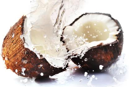 cracked coconut with big splash
