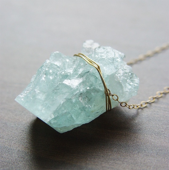 Crystal on Gold Chain