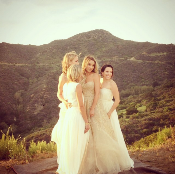 Lauren and company modelling her bridesmaid designs for Martha Stewart Weddings
