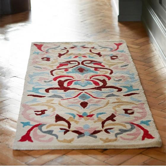small white furry rug