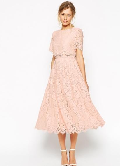 1. Asos Salon, lace crop midi prom dress