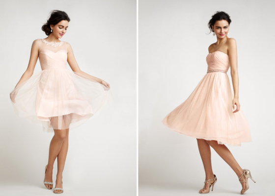 Get Shorty - Add layers to your blushing pink bridesmaid outfit and keep it just above the knee, any shorter is a no-no
