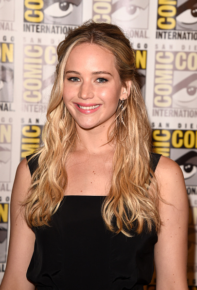 """Jennifer Lawrence of """"The Hunger Games: Mockingjay - Part 2"""" attends the Lionsgate press room during Comic-Con International 2015 at the Hilton Bayfront on July 9, 2015 in San Diego, California."""