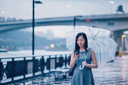 Businesswoman text messaging in rainy city street