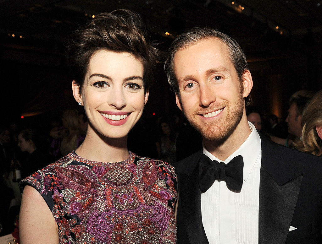 LOS ANGELES, CA - FEBRUARY 02:  Actress Anne Hathaway (L) and actor Adam Shulman attend the 65th Annual Directors Guild Of America Awards at Ray Dolby Ballroom at Hollywood & Highland on February 2, 2013 in Los Angeles, California.  (Photo by Kevin Winter/Getty Images)