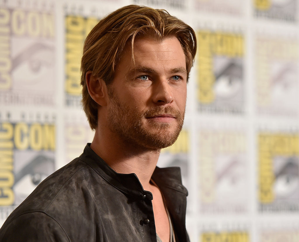 """SAN DIEGO, CA - JULY 26:  Actor Chris Hemsworth attends Marvel's Hall H Press Line for """"Ant-Man"""" and """"Avengers: Age Of Ultron"""" during Comic-Con International 2014 at San Diego Convention Center on July 26, 2014 in San Diego, California.  (Photo by Alberto E. Rodriguez/Getty Images for Disney)"""