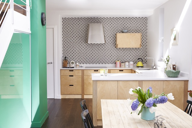 From our May-June issue; Upcycler Avril Wilson-Rankin's kitchen in Dun Laoghaire with tiling by Ceramica in Kilkenny. Photography by Mark Scott.
