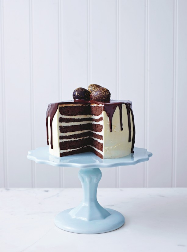 chocolate and vanilla drizzle cake