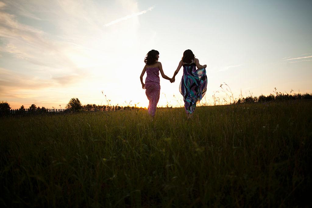 Girls playing on field, Sarsy village, Sverdlovsk region, Russia